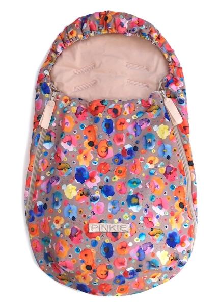fusak Pinkie Flowers Taupe BIO 0-12měsíců