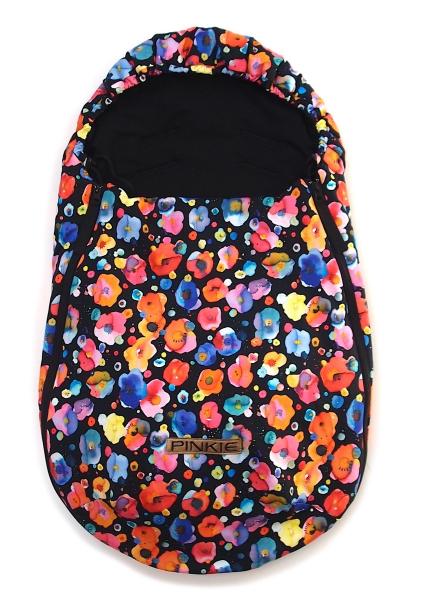 fusak Pinkie Flowers Black 0-12měsíců