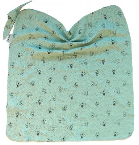 letní deka Pinkie Muslin Green Mouse