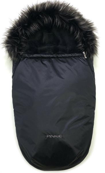 fusak Pinkie Plain Black s kožíškem