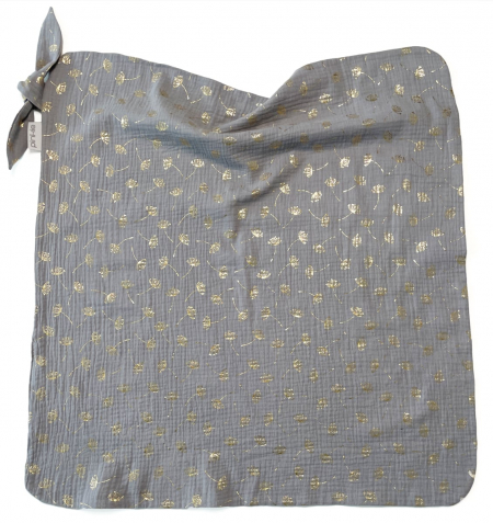 letní deka Muslin Flower Grey