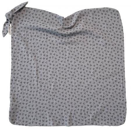 letní deka Pinkie Muslin Grey Heart