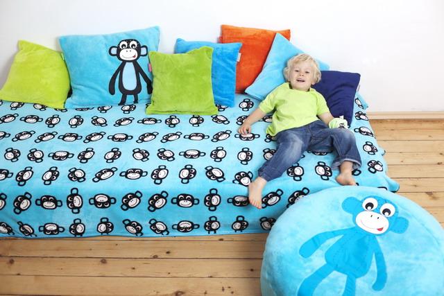přehoz přes postel Monkey Turquoise